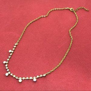 🆕Vintage Brass Clear & Aurora Rhinestone Necklace